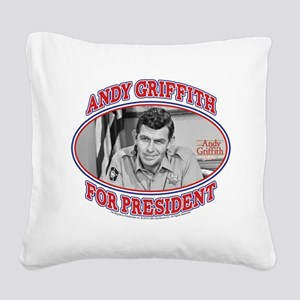 Andy Griffith for President Square Canvas Pillow